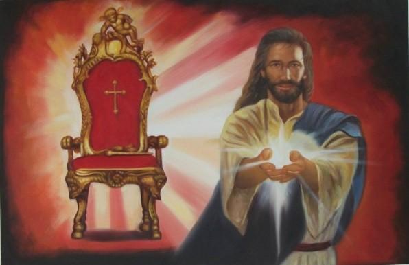 Sitzen mit Christus - Original Öl auf Leinwand