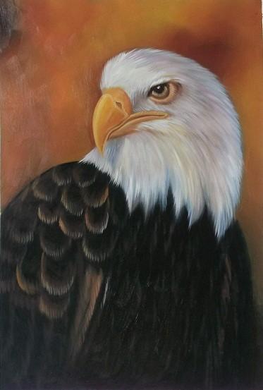 Der wachsame Adler - Original Öl auf Leinwand